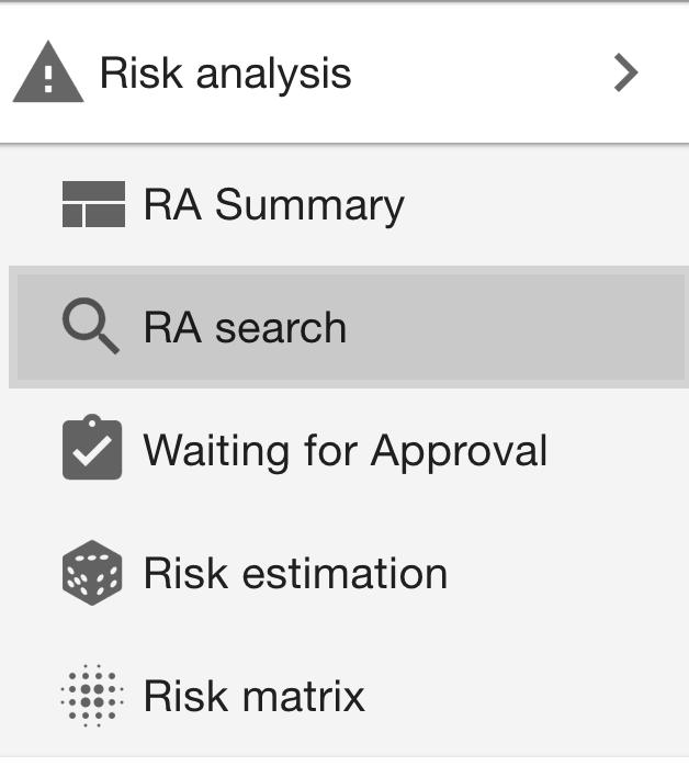 Risk analysis menu